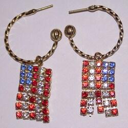 Detti Originals Goldtone Brass American Flag Crystal Hoop Earrings