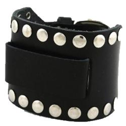 Nemesis XL Black Leather Wide-cuff Watchband with Stud Accents
