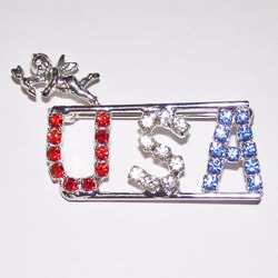 Detti Originals Red, White, and Blue Crystals USA and Angel Pin