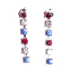 Detti Originals Silvertone Red, White and Blue Crystal Earrings