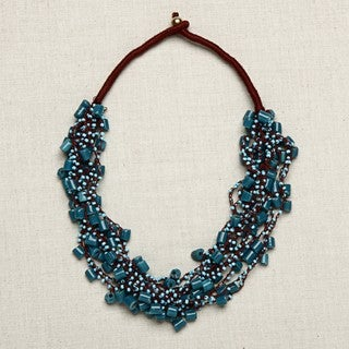 Glass Beads Blue 'Through Thick and Thin' Necklace (India)