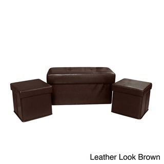 Vanderbilt Foldable 3-piece Storage Ottoman Set