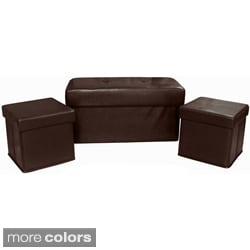 Vanderbilt foldable 3 piece storage ottoman set for Bella chaise dark brown