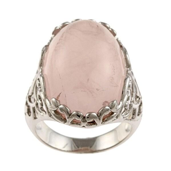 La Preciosa Silvertone Created Rose Quartz Ring