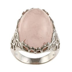 La Preciosa Silvertone Created Rose Quartz Ring