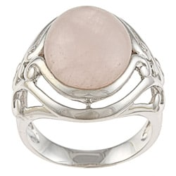 La Preciosa Silvertone Oval-cut Created Rose Quartz Ring