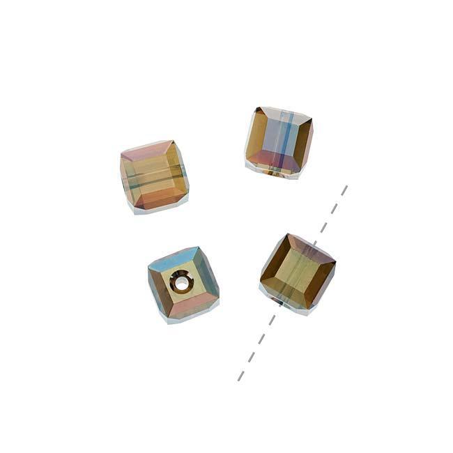 Beadaholique Crystal Bronze Shade 2X 6mm Cube Bead