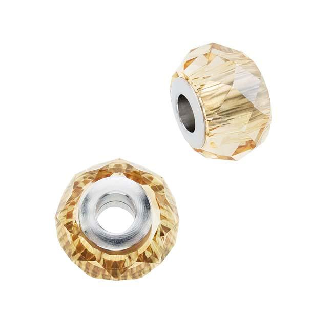 Beadaholique Crystal Gold Shadow 14mm BeCharmed Briolette Bead