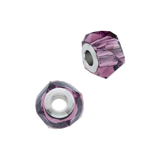 Beadaholique Amethyst 14mm Crystal BeCharmed Helix Bead