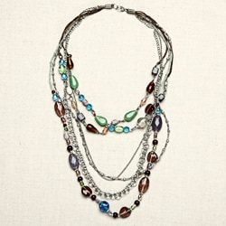 Nickel-plated and Glass Bead Colours of Rainbow Necklace (India)