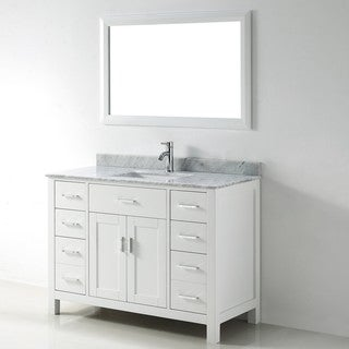 Chloe 48-inch White Carrera Single Sink Vanity Set