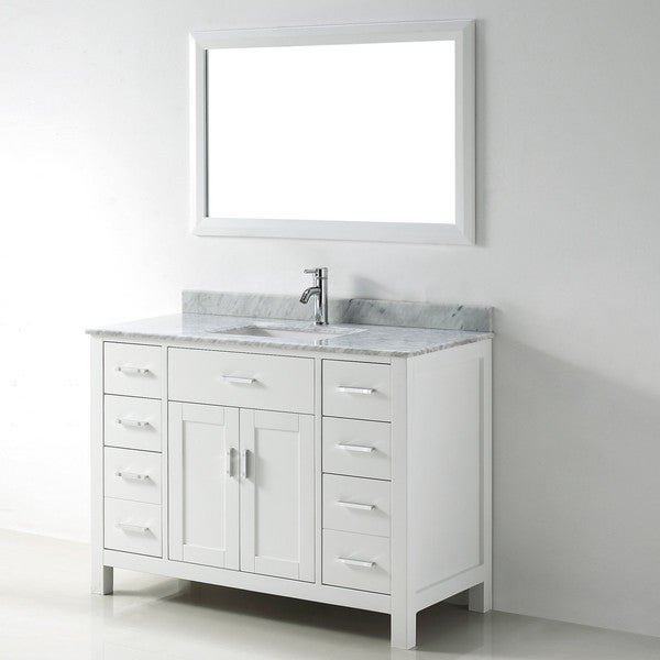 Chloe 48-inch White Carrera Single Sink Vanity Set