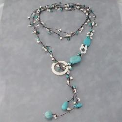 Cotton Rope Pearl/ Turquoise/ MOP Long Necklace (5-9 mm) (Turquoise)