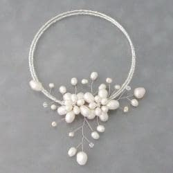 White Pearl Floral Ray Wire Wrap Choker Necklace (5-15 mm) (Thailand)