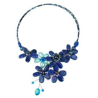 Lapis and Pearl Blue Floral Lace Wrap Necklace (4-15 mm) (Thailand)