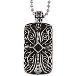 Stainless Steel Men's Black Onyx Cross Dog Tag Necklace