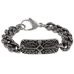 Stainless Steel Men's Onyx Cross ID Bracelet