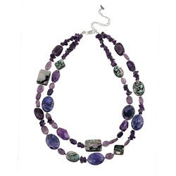 Glitzy Rocks Sterling Silver Amethyst and Abalone Necklace