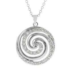 Journee Collection Silvertone Cubic Zirconia Swirl Necklace