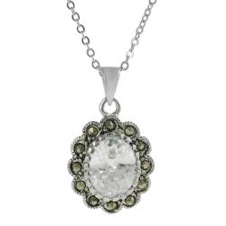 Journee Collection Silvertone CZ and Created Marcasite Flower Necklace