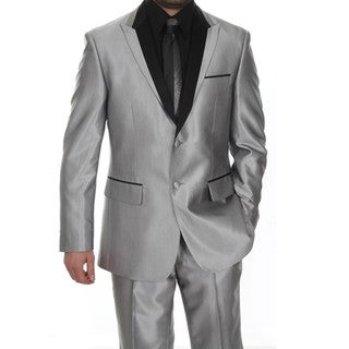 Ferrecci Men's Grey Shiny Peaked Lapel Tuxedo