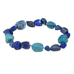 Glitzy Rocks Sterling Silver Turquoise and Lapis Nugget Stretch Bracelet
