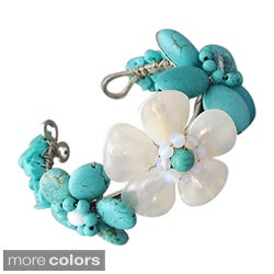 Gemstone Accent Triple Flower Cuff (5-6 mm) (Thailand)