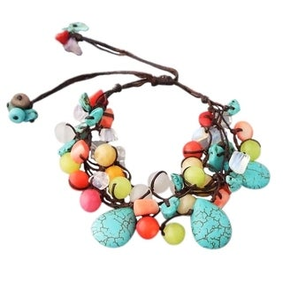 Cotton Teardrop Turquoise and Multi-gemstone Bracelet (Thailand)