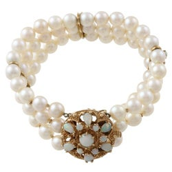 14k Yellow Gold Freshwater Pearl and Opal 3-row Bracelet
