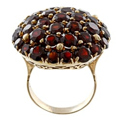 18k Yellow Gold Garnet Giant Cluster Ring
