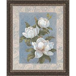 Vivian Flasch 'Blue Magnolias I' Framed Print Art