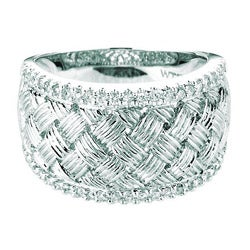 Sterling Silver 1/10ct TDW Diamond Braided Ring (H-I, I1-I2)