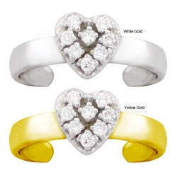 10k Gold 1/10ct TDW Diamond Pave Heart Toe Ring (G-H, SI1-SI2)