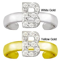 10k Gold Initial 'B' Diamond Accent Toe Ring (G-H, SI1-I2)
