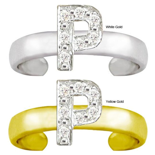 10k Gold 'P' Diamond Accent Toe Ring (G-H, SI2-I1)