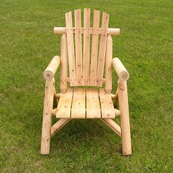 White Cedar Clear Coated Log Lounge Chair