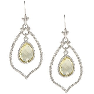 Kabella Kabella Sterling Silver Lemon Quartz Rope Earrings