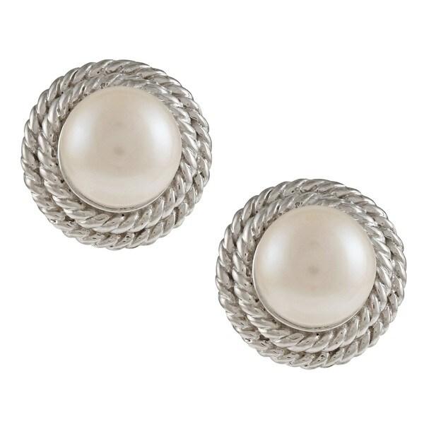 Kabella Kabella Sterling Silver Freshwater Pearl Stud Earrings (8-9mm)