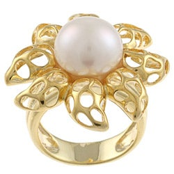 Kabella Kabella Gold Over Silver Freshwater Pearl Flame Ring (12mm)