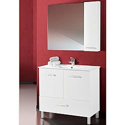Atwood White Wood and Ceramic Vanity