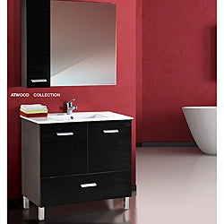 Atwood Black and White Wood/ Ceramic Vanity