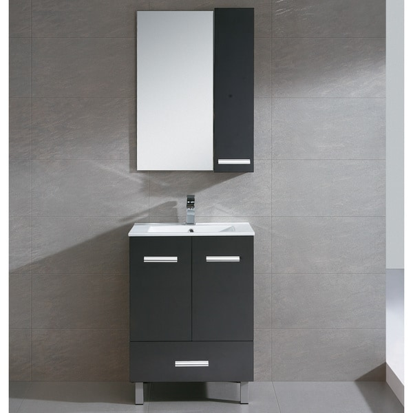 Somette Atwood Black Wood/ White Ceramic Vanity