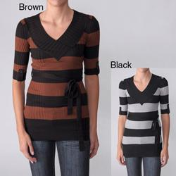 Ci Sono by Adi Junior's Striped V-Neck Elbow-Sleeve Unlined Sweater with Self-Tie Sash