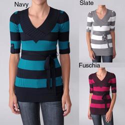 Ci Sono by Adi Junior's Striped V-neck Elbow-sleeve Sweater
