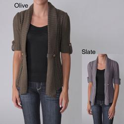 Ci Sono by Adi Junior's Ribbed Detail Open Front Cardigan