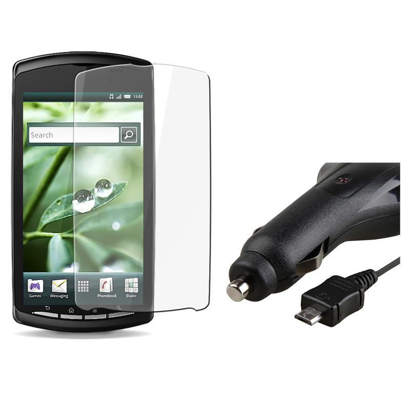 INSTEN Clear Screen Protector/ Retractable Charger for Sony Ericsson Xperia Play