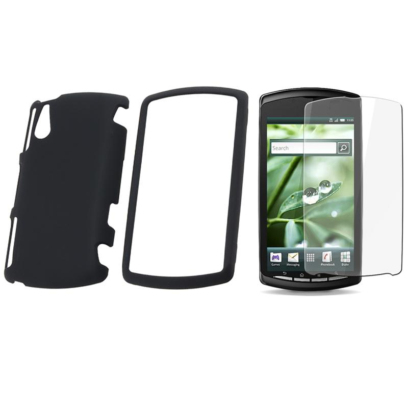 INSTEN Black Rubber Phone Case Cover/ Screen Protector for Sony Ericsson Xperia Play
