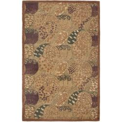 Handmade New Zealand Wool Moments Beige Rug (3'6 x 5'6)