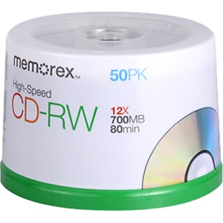 Memorex 03433 CD Rewritable Media - CD-RW - 12x - 700 MB - 50 Pack Sp