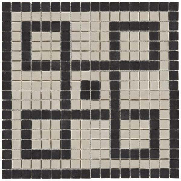 Somertile 14.5x14.5-inch New York Greek Key Decor Porcelain Mosaic Tiles (Case of 5)